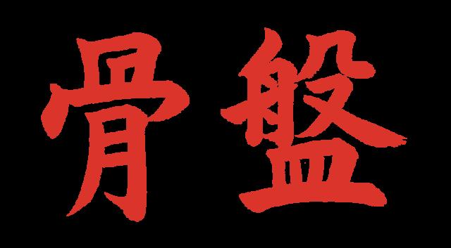 骨盤【習字】春月フォント 横文字 朱色