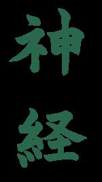 神経【習字】春月フォント 縦文字 緑
