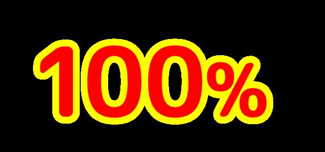 「100%」文字デザインイラスト!無料ダウンロード素材