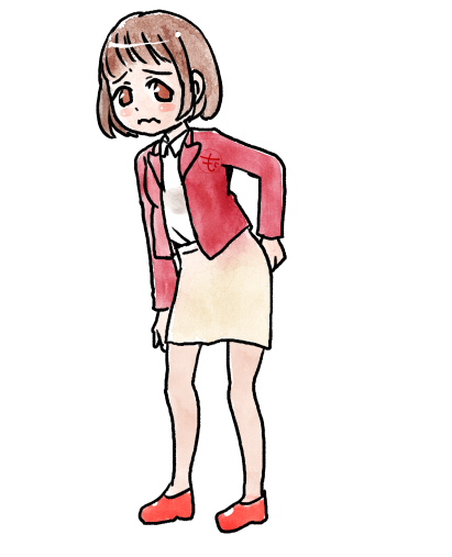 腰痛がひどい女の子のイラスト
