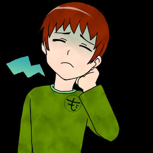 むちうちのイラスト①首の痛み